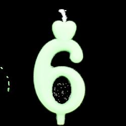 Zöld számgyertya - 6